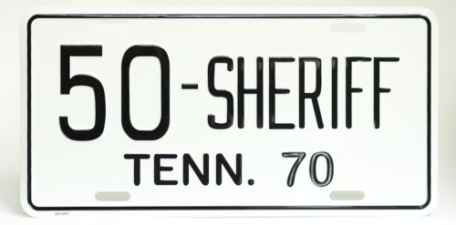 Buford Pusser License Plate White