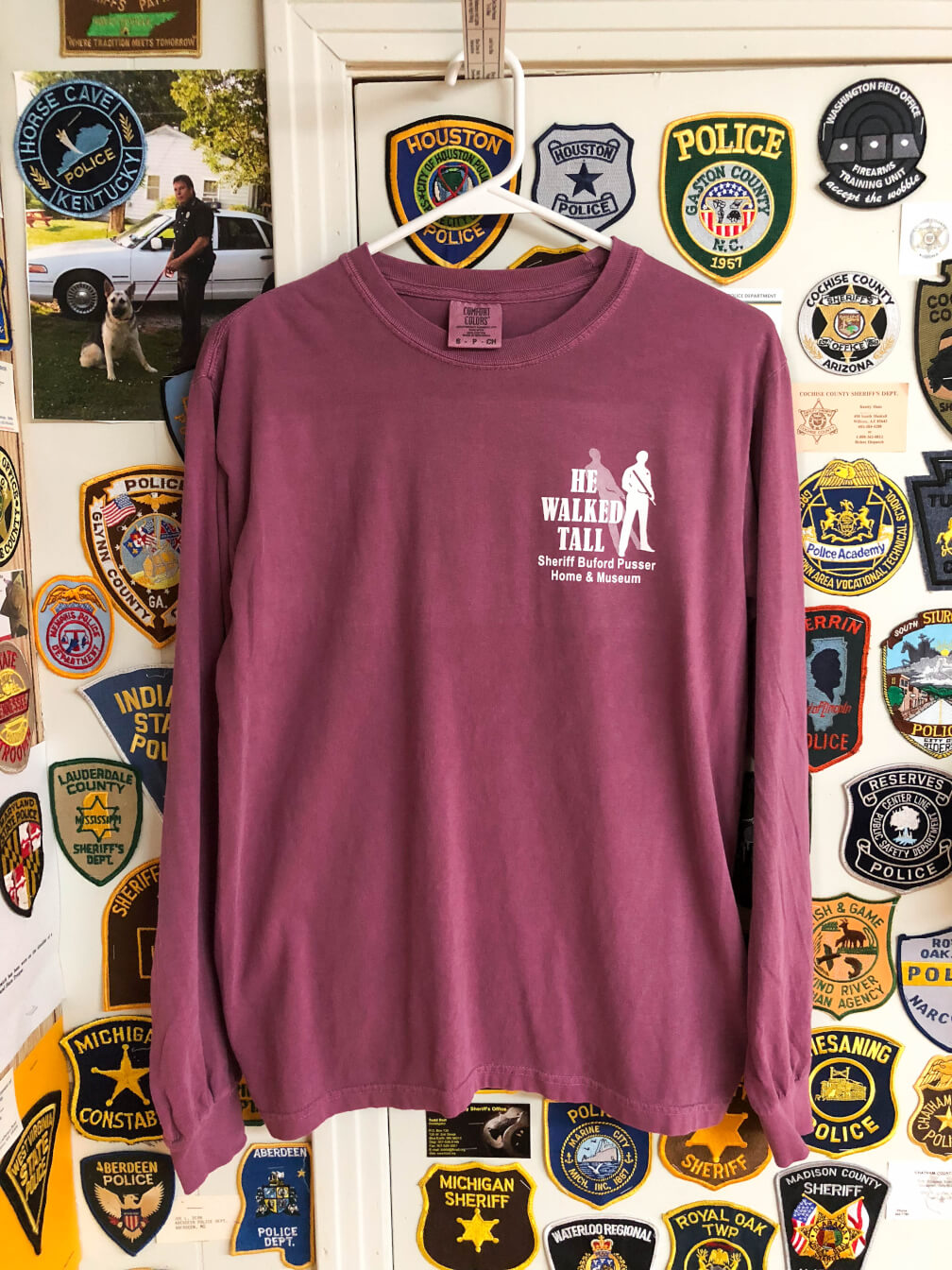 8efffd29e8eb He Walked Tall – What's Right is Right – T-Shirt Long Berry – Sheriff Buford  Pusser Museum