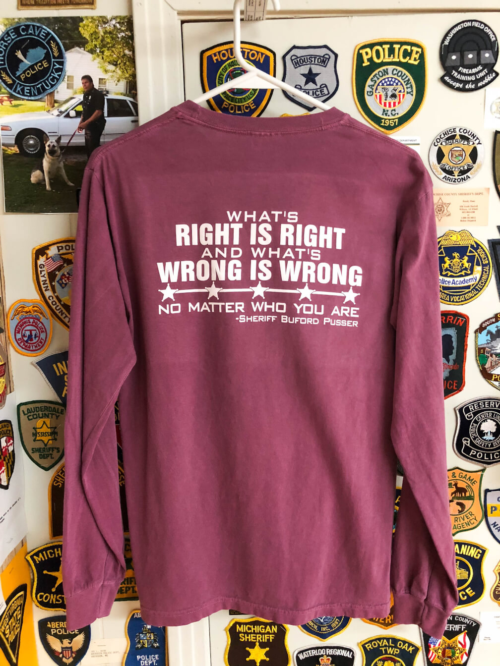 859ea41b4b3e He Walked Tall – What's Right is Right – T-Shirt Long Berry ...